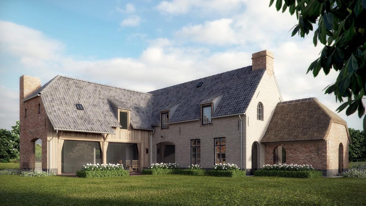 Boerderij nieuwbouw project in landelijke stijl for Landelijk bouwen architect